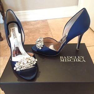 Badgley Mischka Giana, Blue Satin & Crystal Heels
